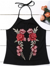 top,girly,black,crop tops,halter top,embroidered,floral,trendy