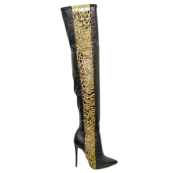 Shoes: boots, gold boots, dawn richard, thigh highs, thigh high ...