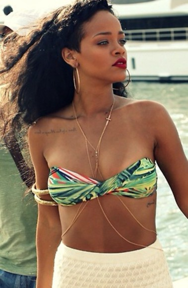 body swimwear jewels jewelry rihanna body chain