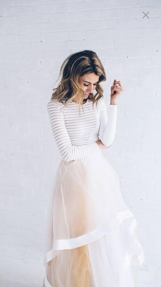 dress white dress skirt pink white classy tulle skirt t-shirt top white top