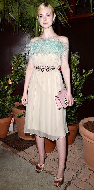 dress midi dress mules elle fanning cannes shoes
