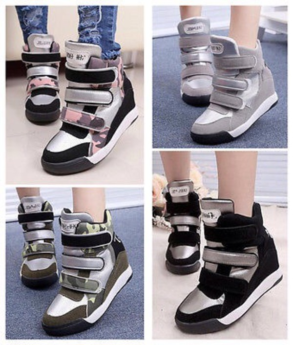 6aa2855f415e Black Suede Silver Punk Rock Hidden Wedges Ankle Sneakers