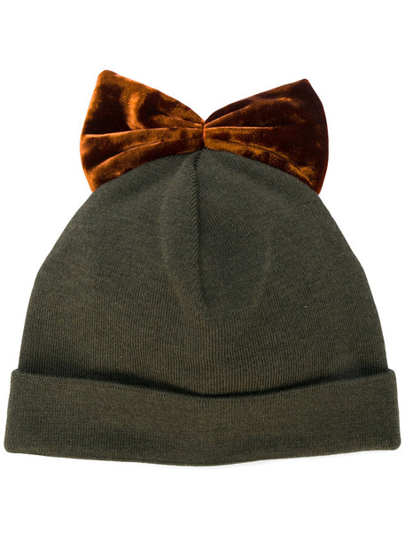 bow embroidered hat green