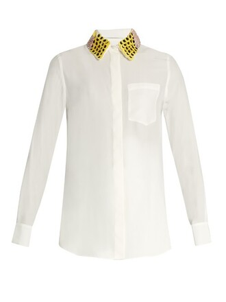 shirt long light beige top