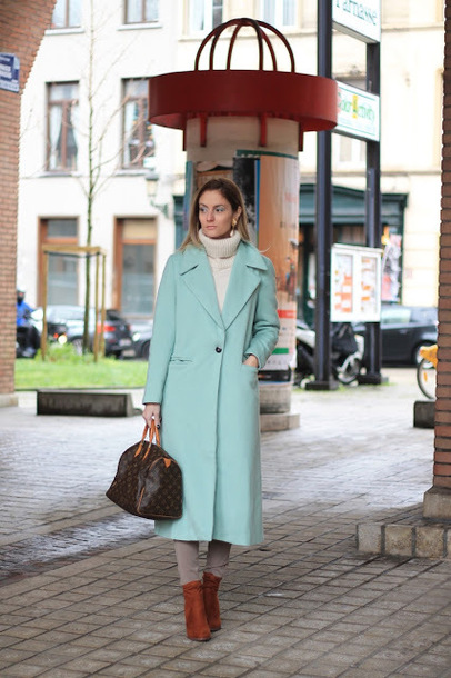 from brussels with love blogger coat bag pants sweater shoes winter outfits blue coat handbag louis vuitton bag ankle boots turtleneck sweater