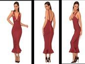 dress,midi dress,bodycon dress,mermaid,burgundy dress