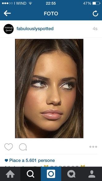 make-up tan blush peach lipstick lip gloss adriana lima party make up