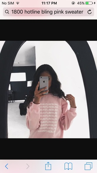 sweater pink girly girl girly wishlist hotline bling light pink baby pink rose wholesale rose iphone