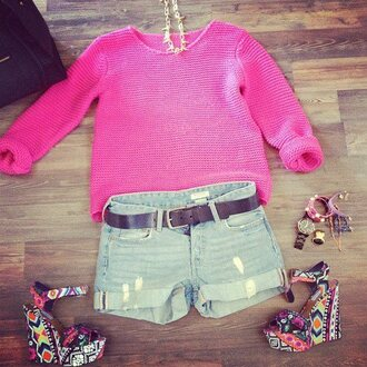 sweater pink hell ceinture pullover shorts jewelry ripped jeans jeans high heels watch brown shoes hot pink