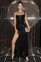 dress,bella hadid,slit dress,pumps,gown,prom dress,bustier dress,fashion week,celebrity,model