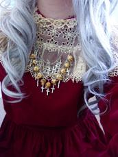 maxi dress,red dress,necklace,cross,dress,jewels