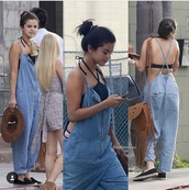 jumpsuit,blue jeans,bodysuit,vacation outfits,selena gomez,denim overalls