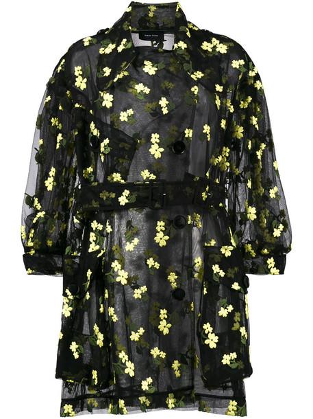 Simone Rocha - organza flower embroidered trench - women - Cotton/Polyamide/Polyester - 8, Black, Cotton/Polyamide/Polyester