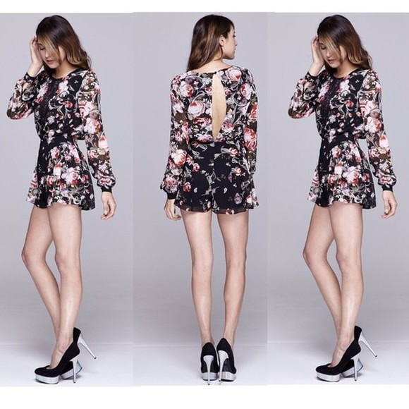 style girly sexy fashion lovely pepa romper floral floral romper sheer swag new girl