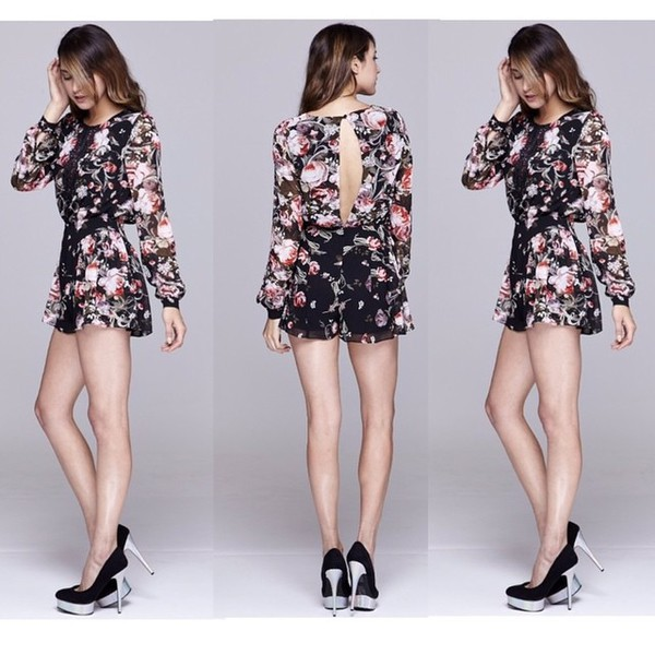 romper fashion floral floral romper sheer style swag girly new girl lovely pepa