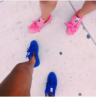 shoes sneakers pink blue yellow puma style puma shoes