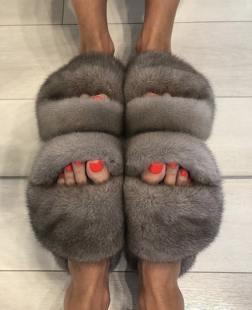 shoes sandals fur slides