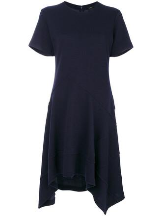 dress asymmetrical dress short asymmetrical women cotton blue wool