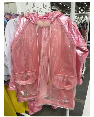coat rain coat pink clear see through pom poms cute kawaii soft ghetto