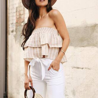 top tumblr nude top stripes striped top tube top ruffle pants white pants