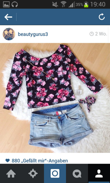 shirt fashion flowers shorts