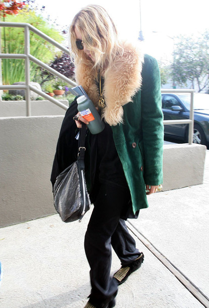 mary kate olsen olsen sisters green jacket olsen sisters