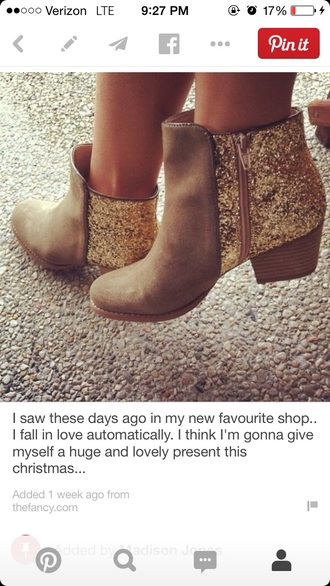 sparkle fashion style gold boots