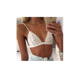 underwear bra bralette lace flowers daisy white grune swimwear top