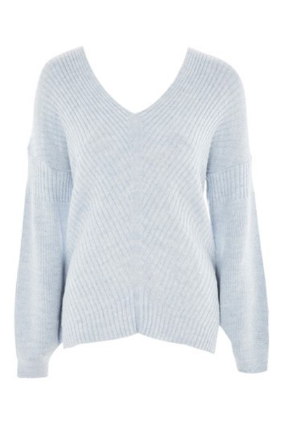 Topshop jumper asymmetrical pale blue sweater