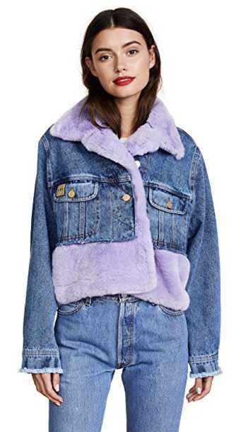 Natasha Zinko jacket cropped jacket denim cropped fur lilac