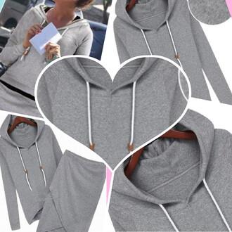 sweater fall outfits skirt hoodie love heather grey heather knee length