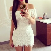 lace dress,white dress,cell phone case,iphone case,accessories,phone cover,beach,dress,clothes,white lace dress,white,short,lace,off the shoulder dress