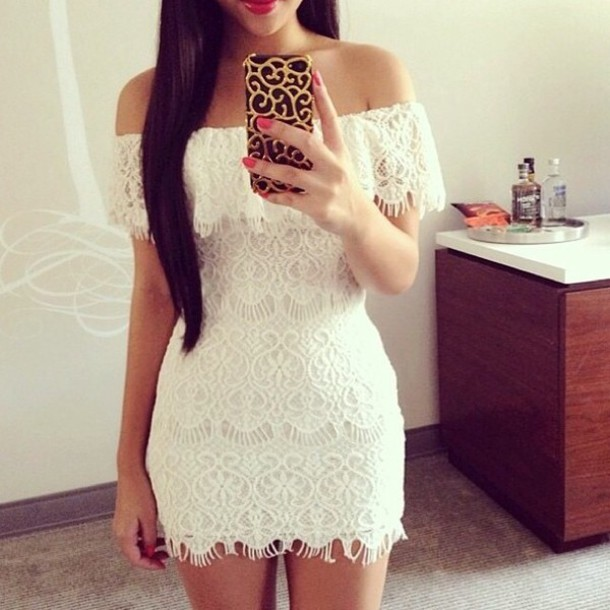 lace dress white dress cell phone case iphone case accessories phone cover beach dress clothes white lace dress white short lace off the shoulder dress