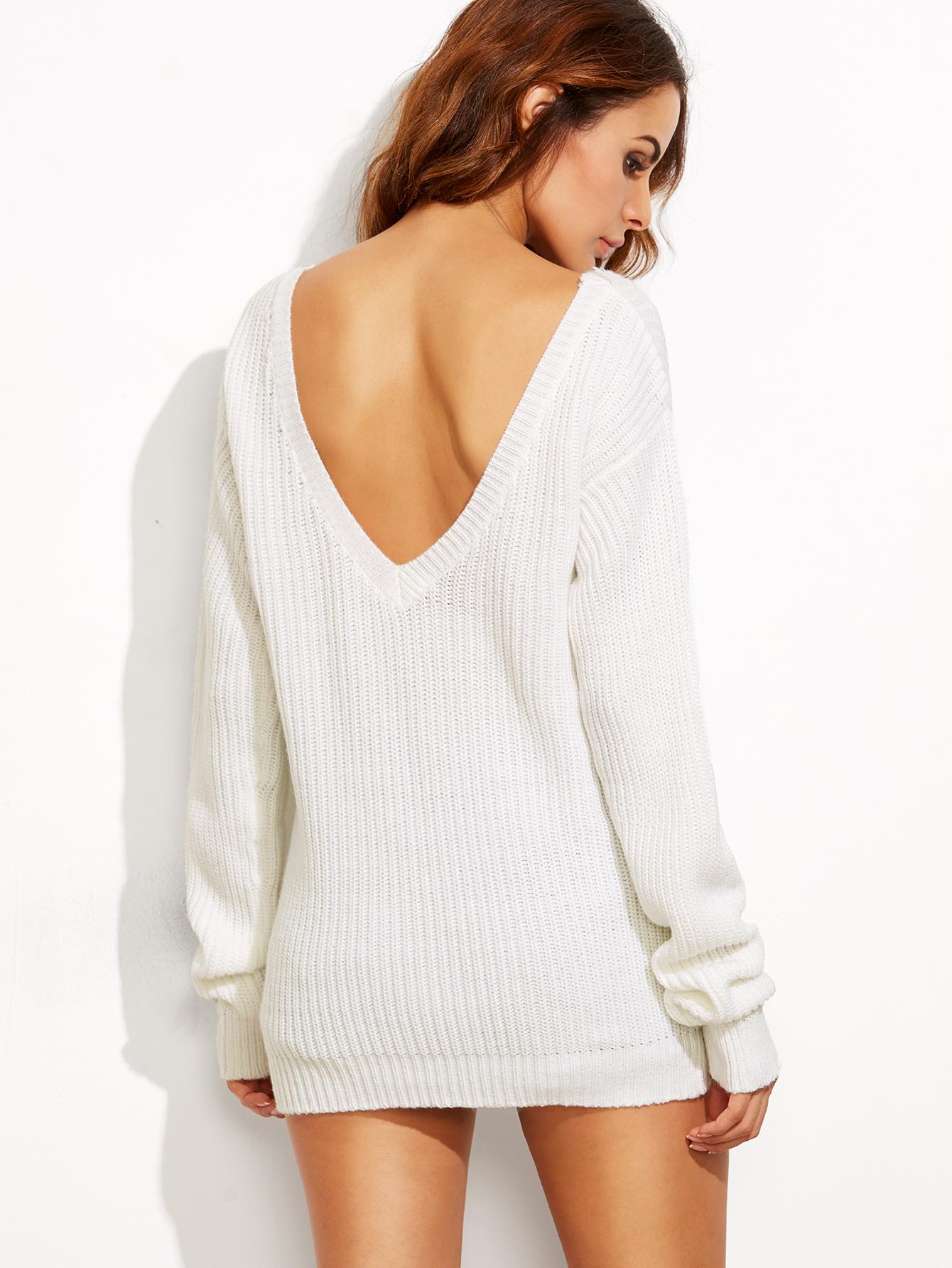 White V Back Drop Shoulder Sweater -SheIn(Sheinside)