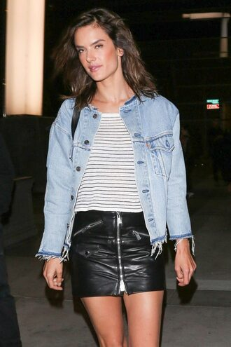 skirt top denim denim jacket mini skirt striped top alessandra ambrosio jacket