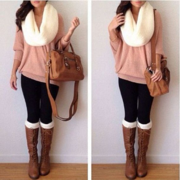 bag fall outfits scarf sweater boots fashion cute comfy Belt