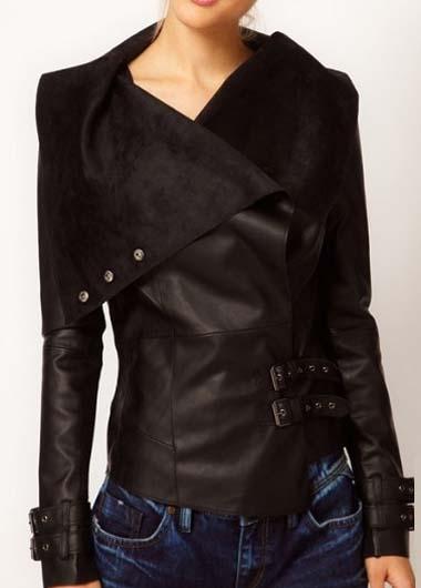 Laconic Turndown Collar Long Sleeve Solid Black Jacket