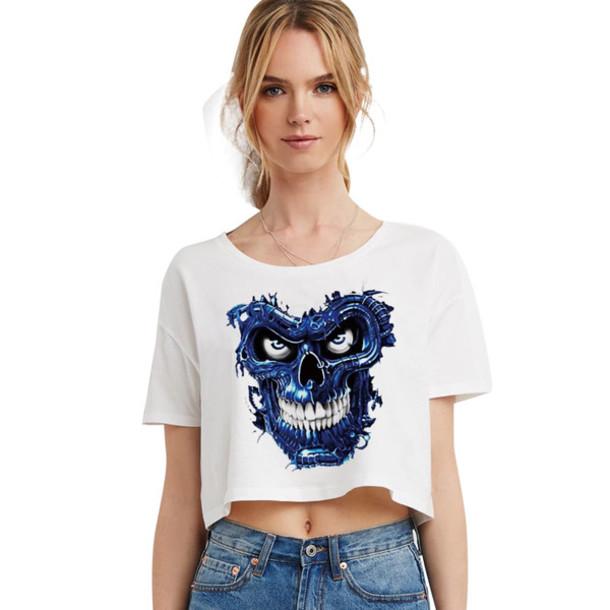 T Shirt Short T Shirt Blue Terminator Skull Plus Size
