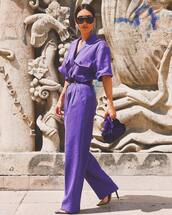 jumpsuit,sandals,bag,wide-leg pants,sunglasses,earrings,belt