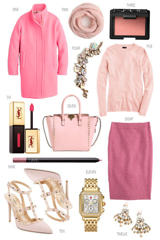 ivory lane blogger pink coat all pink everything nars cosmetics ear cuff valentino pink skirt statement earrings nude shoes
