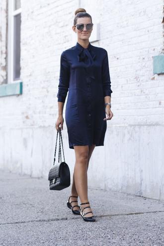 chicstreetstyle blogger dress bag jewels sunglasses shirt dress navy dress flats chanel bag summer dress summer outfits