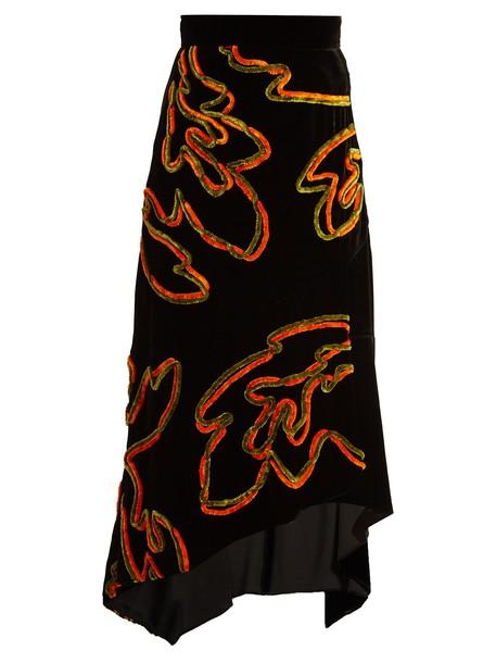 skirt velvet skirt floral velvet print black