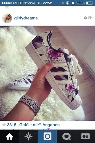 shoes adidas superstars flowers adidas wings classy