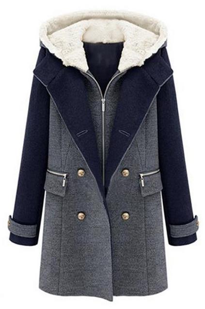 ROMWE   ROMWE Zippered Double-breasted Hooded Slim Coat, The Latest Street Fashion