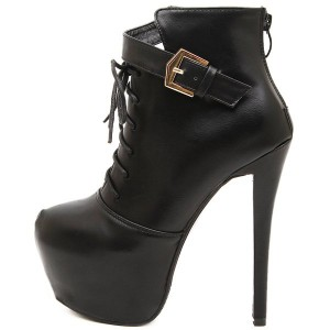 Black Lace up Boots Stiletto Heel Platform Ankle Booties