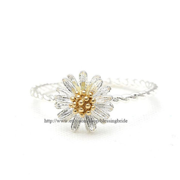 jewels jewelry ring flowers flower ring dandelion ring spring jewelry woman ring lovely jewelry