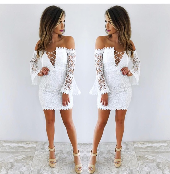 dc835884a72 dress white dress lace up bell sleeves off the shoulder crochet lace  bodycon dress mini dress
