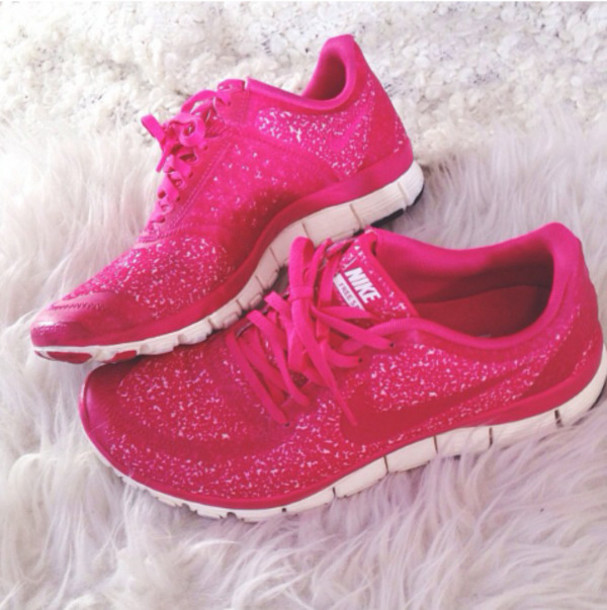 shoes nike free run pink free run glitter sparkle