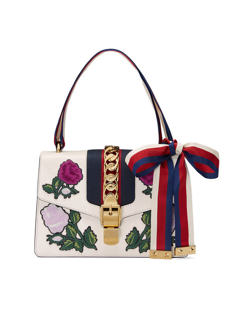 gucci metal embroidered women bag shoulder bag leather white suede