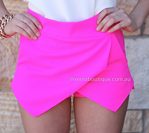 skirt skort wrap pink cute shorts pointy fluro fluro pink tight mini